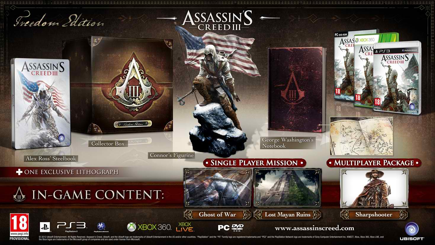 Assassins creed 3 collector's editions details revealed | gameolio.